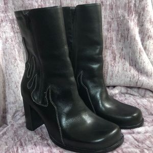 Harley Davidson Leather Boots 7M Flames
